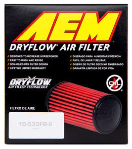 AEM DryFlow Air Filter 2-3/4in. Flange / 4in. OD / 5in. H / 10 Degree Flg. (Special Order)