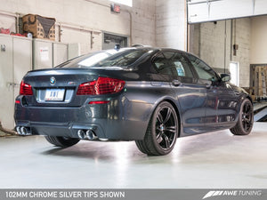 AWE Tuning BMW F10 M5 Touring Edition Axle-Back Exhaust Chrome Silver Tips