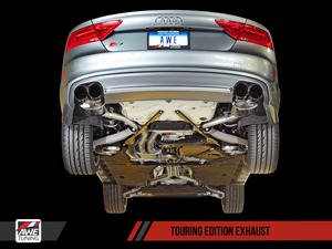 AWE Tuning Audi C7 / C7.5 S7 4.0T Touring Edition Exhaust - Polished Silver Tips