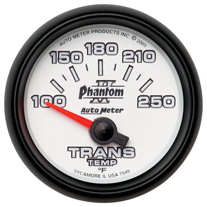 Autometer Phantom II 52.4mm Shortl Sweep Electronic 100-350 Def F Transmission Temperature Gauge