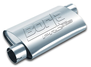 Borla Universal Pro-XS Muffler Oval 3in Inlet/Outlet Offset/Offset Notched Muffler