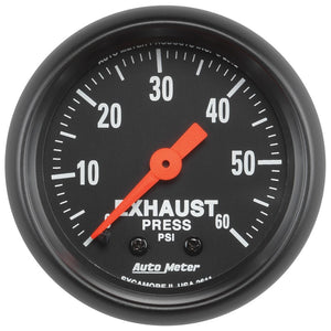 Autometer Z Series 52mm 0-60 PSI Mechanical Exhaust Gas Pressure Gauge