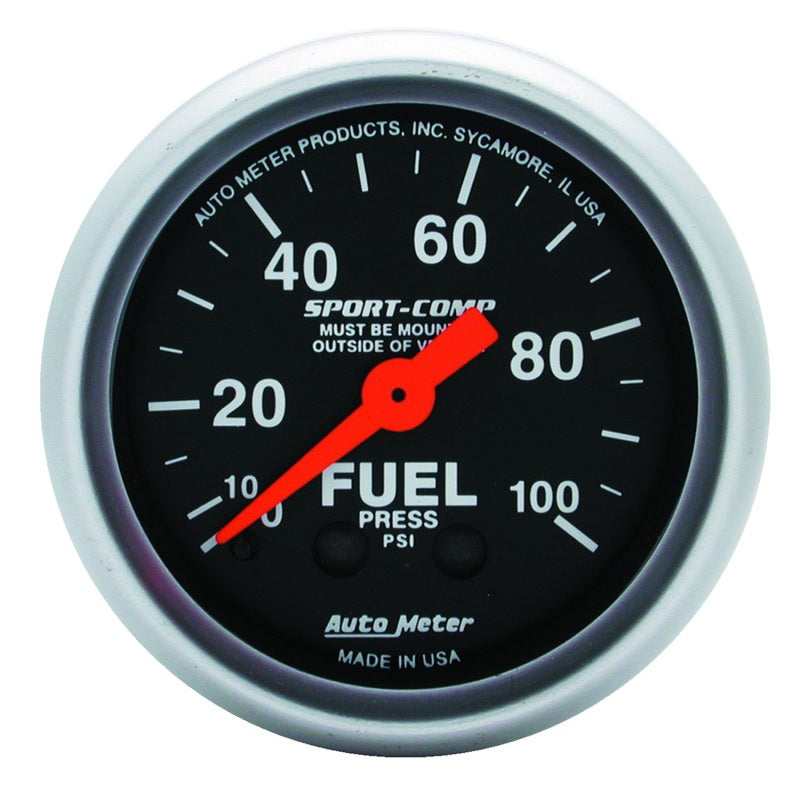 Autometer Sport-Comp 52mm 0-100 PSI Mechanical  Fuel Pressure Gauge