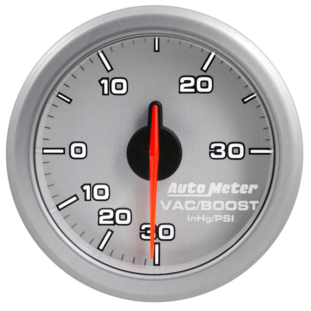 Autometer Airdrive 2-1/6in Boost/Vac Gauge 30in HG/30 PSI - Silver