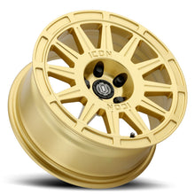 Load image into Gallery viewer, ICON Ricochet 15x7 5x100 15mm Offset 4.6in BS 56.1mm Bore Gloss Gold Wheel