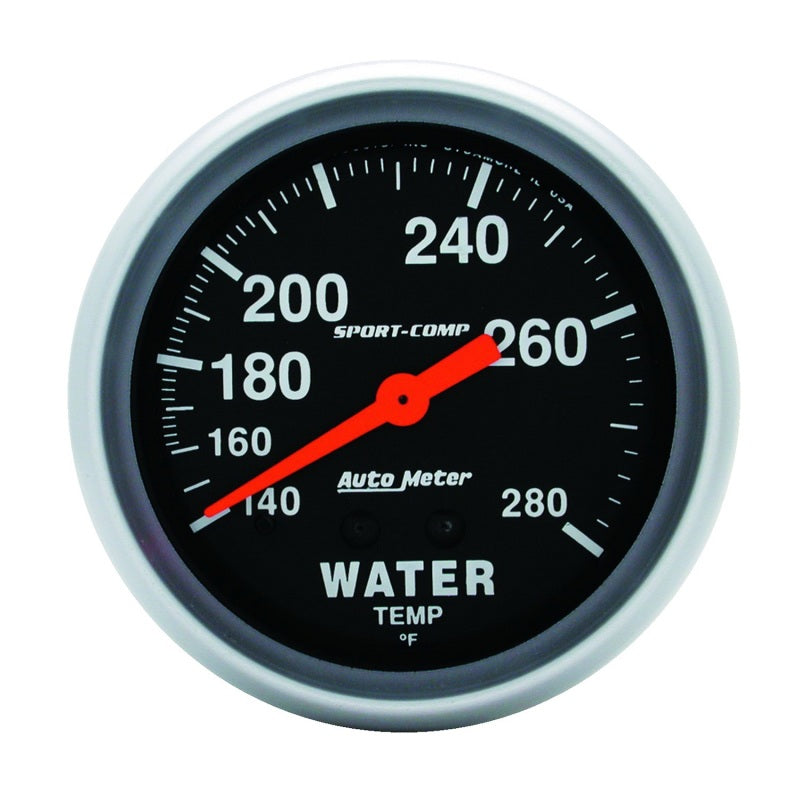 Autometer Sport-Comp 66.7mm 140-280 Degree F PSI Mechanical Water Temperature Gauge