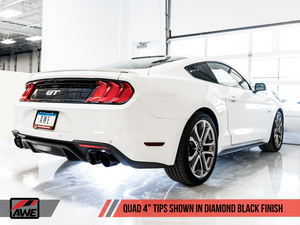 AWE Tuning 2018+ Ford Mustang GT (S550) Cat-back Exhaust - Touring Edition (Quad Diamond Black Tips)