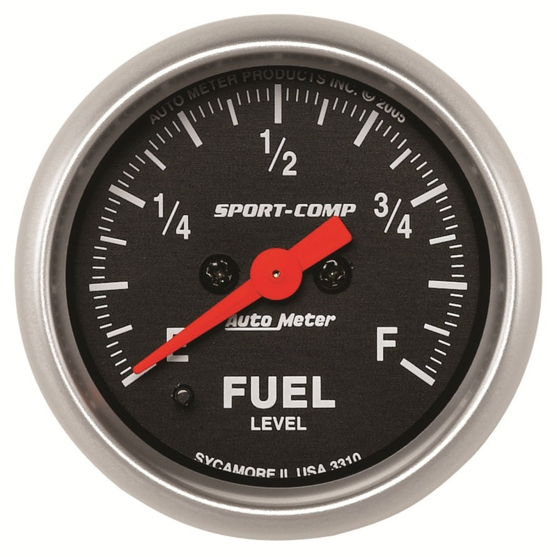 Autometer Sport Comp 52mm Full Sweep Electronic Fuel Level Programmable Empty-Full Range Gauge