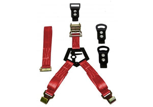 N-Fab Bed Mounted Rapid Tire Strap Universal - Gloss Black - Red Strap