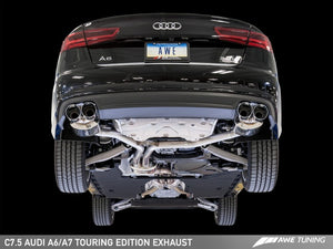 AWE Tuning Audi C7.5 A6 3.0T Touring Edition Exhaust - Quad Outlet Chrome Silver Tips