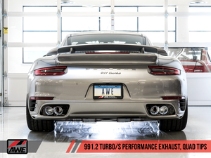 AWE Tuning Porsche 991.2 Turbo Performance Exhaust and High-Flow Cat Sections - Silver Quad Tips