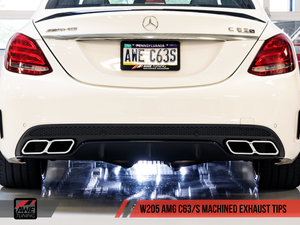AWE Tuning Mercedes-Benz AMG C63 Machined Exhaust Tips - Brushed Silver