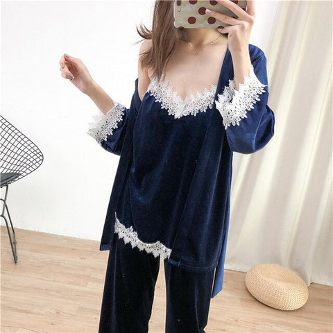 Women New Velvet Warm 3PCS Lace Sleepwear Autumn Winter Pajama Pyjama Set Floral Trim Nightwear Soft Home Wear Lingerie Suit
