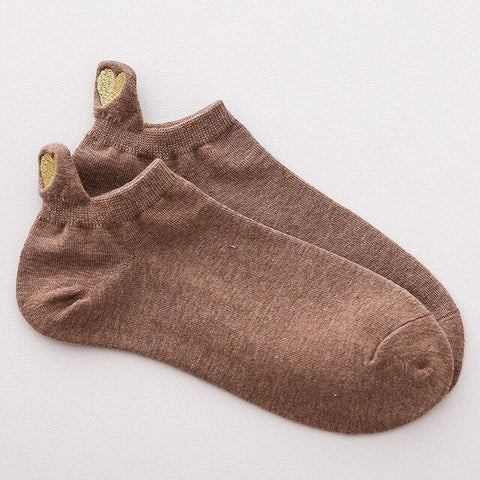 Women Heel Love Embroidery Solid Breathable Socks