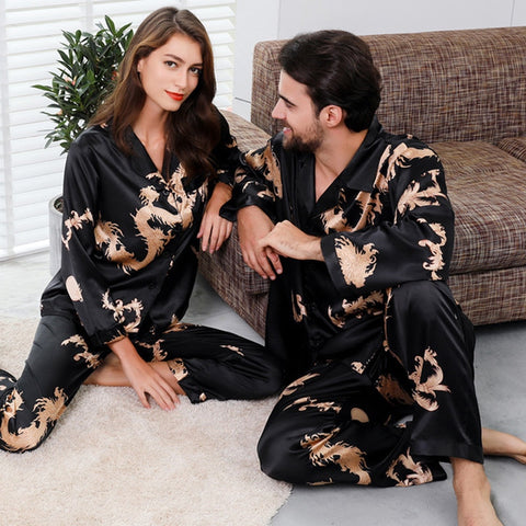 Couple Silk Satin Pajamas Pyjamas Set Long Sleeve Sleepwear 2PC