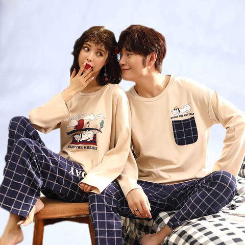 2019 Long Sleeve Cotton Couple Pyjama Men And Women Shein