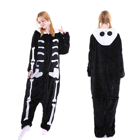 Women Unicorn Pajamas Sets Flannel Cartoon Animal Fox Onesie