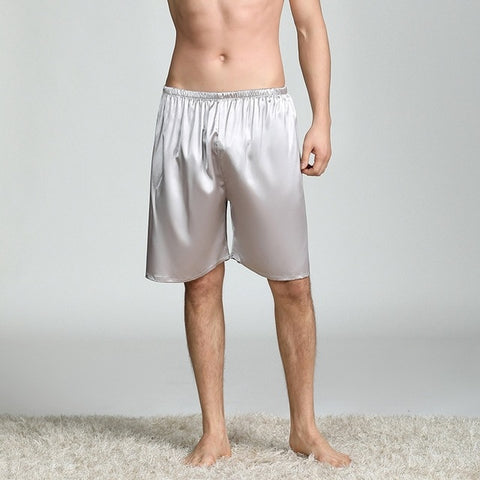 Casual Loose Men's Satin Silk Pajama Lounge Shorts Sleepwear