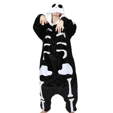Winter Halloween Pajama Sets Cartoon Sleepwear Cosplay  Women Pajama Flannel Animal Stitch Skeleton Pajama