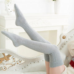 Women Cotton Thigh High Over The Knee Stockings