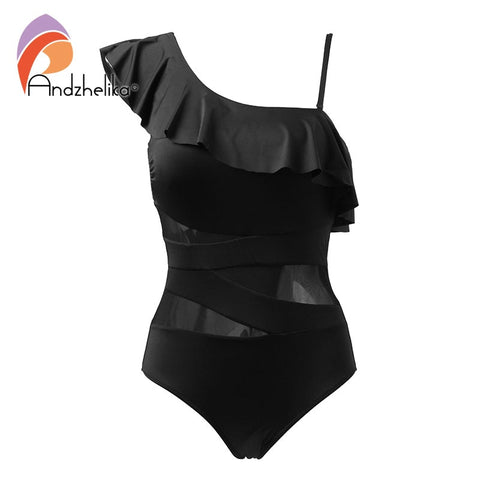 Andzhelika Sexy One Piece Swimsuit Women Swimwear  One Shoulder Swimwear Ruffle Mesh Bodysuits Beach Swim Suit Bathing Suit