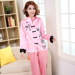 Traditional Chinese Women Silk Pajamas Set Embroidery 2PCS M-3XL