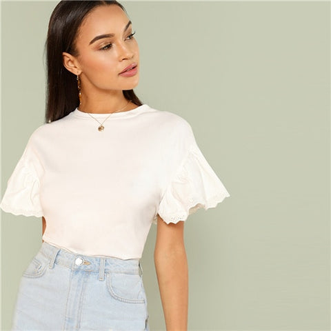 SHEIN White Elegant Round Neck Eyelet Embroidered Trim Ruffle Short Sleeve Solid T-shirt Summer Women Weekend Casual Tee Top