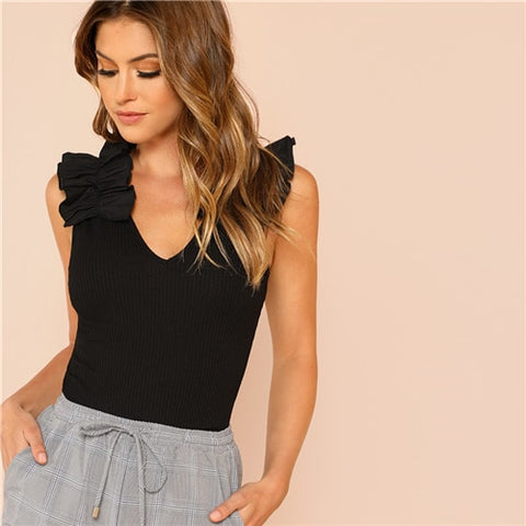 SHEIN Black Elegant Sexy Ruffle Trim Sleeveless Rib Knit V Neck Tee Summer Women Weekend Casual T-shirt Top