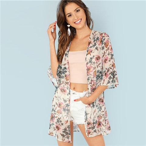 SHEIN Multicolor Vacation Boho Bohemian Beach Floral Print Flounce Sleeve Long Kimono Summer Women Weekend Casual Blouse Top