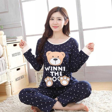 Womens Pajamas Sets Long sleeve suit Animal Cartoon Large Size Girls Sleepwear Women's Pijamas Suit Home Clothes Pyjama Femme