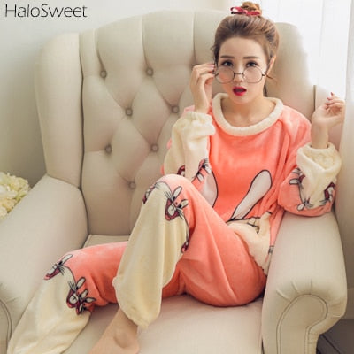Winter Sleepwear Women Pajamas Lady Pyjama Two Piece Indoor Clothing Cartoon Home Suit For Female Plus Size