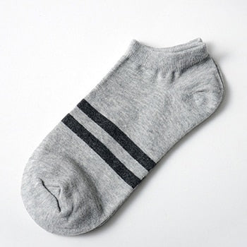 5 Pairs Men's Breathable Ankle Stripe Cotton Socks