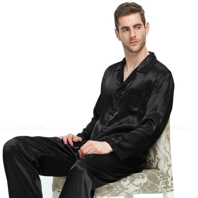 Mens Silk Satin Pajamas Set Sleepwear Loungewear S~4XL