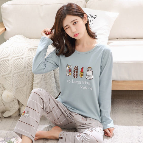 Autumn New Cotton Printing Lapel Top + Long Pant 2 Piece Sets Pajamas Set For Women Cute Sleepwear Girls Pyjama M L XL XXL XXXL