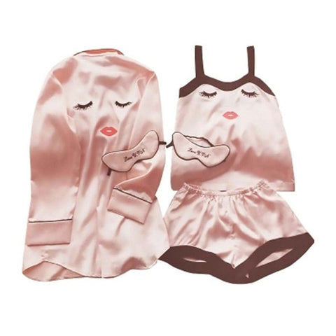 Women Pink Striped Pajamas Silk Set 7 Pieces