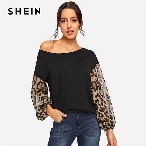 SHEIN Black Leopard Contrast Mesh Pullover One Shoulder Bishop Sleeve Sweatshirt Women Autumn Patchwork Elegant Sweatshirts