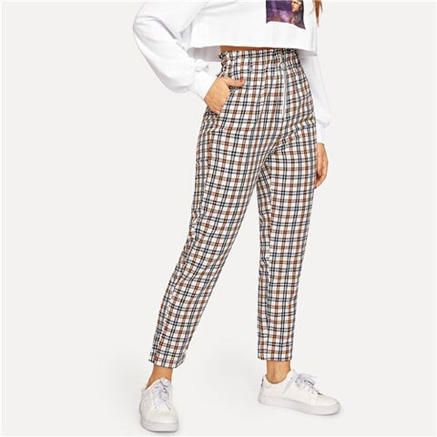 SHEIN Multicolor Exposed Zip Fly Plaid Peg Straight Leg High Waist Cotton Fringe Pants 2018 Autumn Casual Workwear Trousers