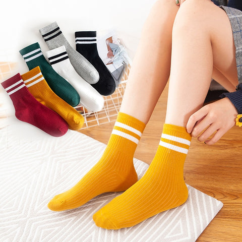 New High Quality Women Girls Casual Striped Candy Colors Cotton Comfortable Harajuku Short Socks Fashion Female Funny Socks