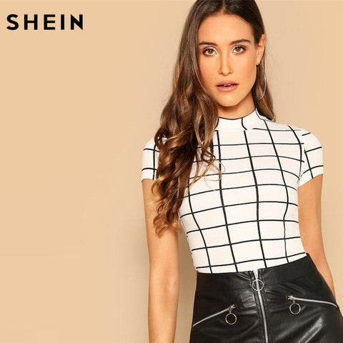 SHEIN Black and White Plaid Peplum Stand Collar Belted Top Gingham Pullovers Summer Casual Women Tshirt And Short Sleeve tops