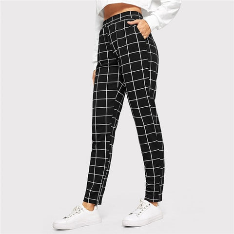 SHEIN Black Plaid Mid Waist Skinny Carrot Trousers Autumn Women Casual Slim Fit Vertical Women Pencil Streetwear Pants