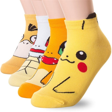Anime Pokemon Pikachu Charmander Psyduck Squirtle Casual Socks 3D Printed Cartoon Ankle Socks Kawaii Harajuku