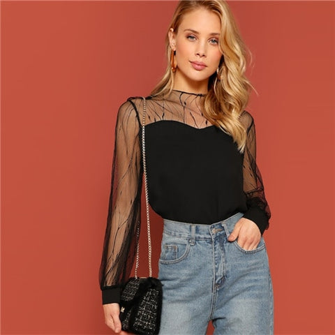 SHEIN Black Sheer Contrast Mesh Yoke Sweetheart Neck Round Neck Top Women Spring Elegant Autumn Casual Plain Tops and Blouses
