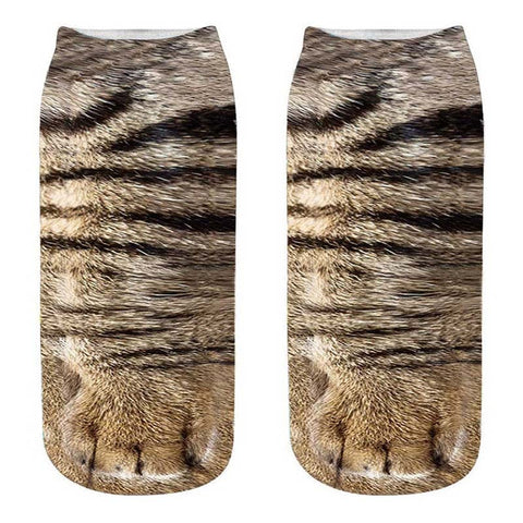 Women Fashion 3D Animals Cat Paw Print Socks Zebra Pattern Kawaii Short Cotton Socks Christmas Cute Tiger Low Cut Ankle Socks