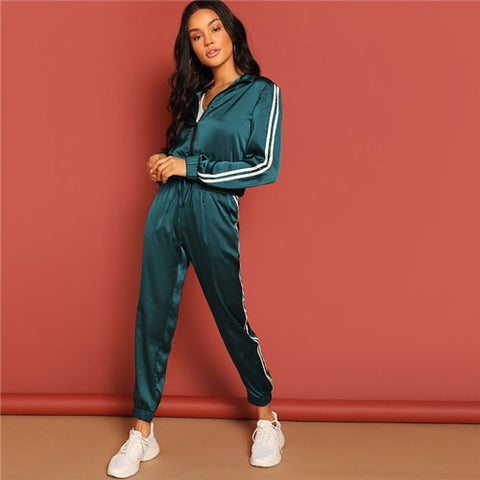 SHEIN Green Zip Up Striped Tape Jacket And Drawstring Pants Satin Tracksuit Women Spring Casual Streetwear Two Piece Set
