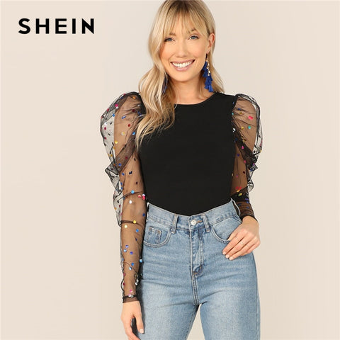 SHEIN Black Colorful Dot Puff Shoulder Mesh Gigot Sleeve Skinny Tee O-Neck T Shirt Women Spring Slim Fit Party Club Tshirt Tops