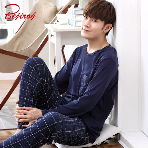 Yidanna long sleeve pijama cotton pajamas set for male plus size sleep clothing casual nightie sleepwear men pyjamas suit autumn
