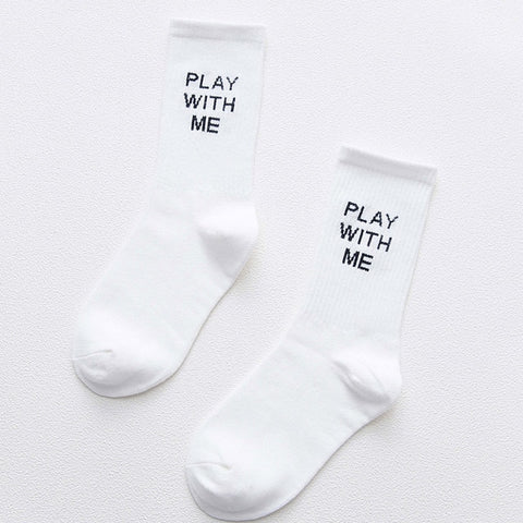New Fashion Women Socks Cotton 1 Pair Striped Letter Spring Schoolgirl Casual Long Happy Casual Breathable Ladies Socks women