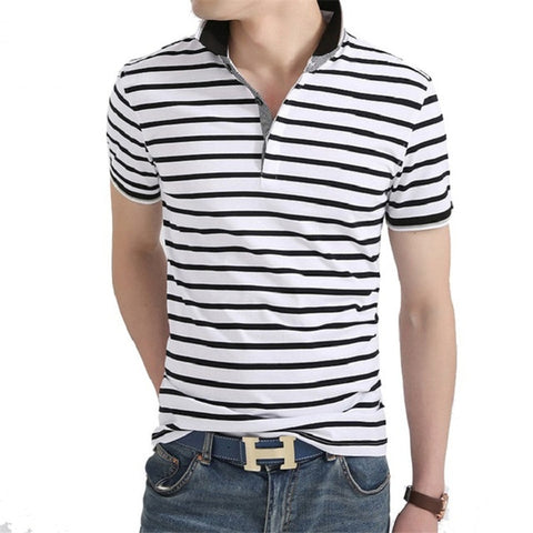 Men Polo Shirt White Striped Short Sleeve