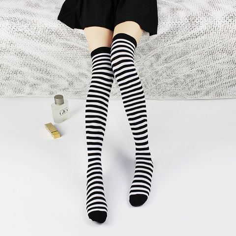 1 Pair Cotton Stripe Thigh High Knee Socks Women's Long Socks