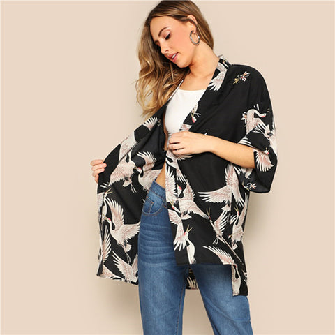 SHEIN Bohemian Black Crane Bird Print Side Slit Long Kimono Cardigan Women Summer 3/4 Length Sleeve Vacation Casual Kimonos